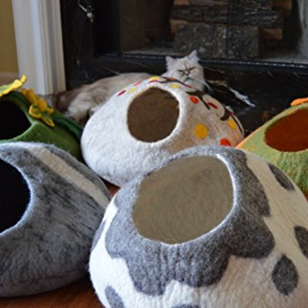 Cat-Cave-Bed-Handmade-Felted-Wool-House-for-Cats-and-Kittens-Original-Cat-Caves-By-Earthtone-Solutions-Radiant-Realm-0-4