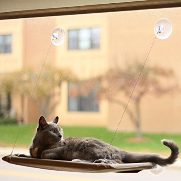 Evelots-Window-Mounted-Cat-Bed-Window-Kitty-Perch-Strong-Durable-Biege-0-0