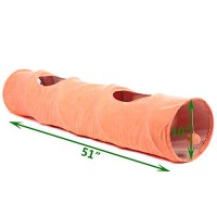 Favorite-Large-Cat-Tunnel-Fun-Cat-Toy-with-2-Peep-Holes-Lightweight-Foldable-Tunnel-for-Cats-Collapsible-Tunnel-with-Dangling-Ball-Toy-Cat-Crawling-Toy-Orange-0-4