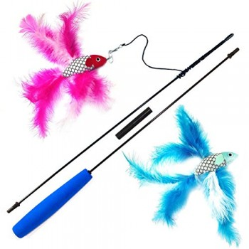 2-Fish-and-Feather-Teaser-and-Exerciser-For-Cat-and-Kitten-Cat-Toy-Interactive-Cat-Wand-0