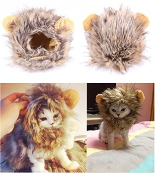 Bassion-Pet-Halloween-Cosplay-Costume-Lion-Mane-Wig-Hat-for-Cat-or-Small-Dog-Dress-up-with-Ears-0