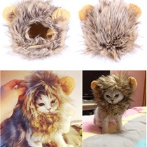 Bassion Pet Halloween Cosplay Costume Lion Mane Wig Hat for Cat or Small Dog Dress up with Ears