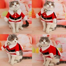 Bolbove Pet Christmas Santa Claus Suit Costume for Small Boy Dogs & Male Cats Jumpsuit Winter Coat Warm Clothes (Red, Small)