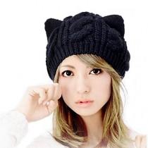Cocobla Women's Hat Cat Ear Crochet Braided Knit Caps
