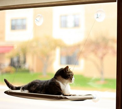Evelots-Window-Mounted-Cat-Bed-Window-Kitty-Perch-Strong-Durable-Biege-0