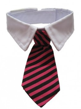 Leegoal-Dog-Cat-Pet-Stripe-Bow-Tie-Neck-Tie-with-White-Collar-Red-Black-StripesM-0