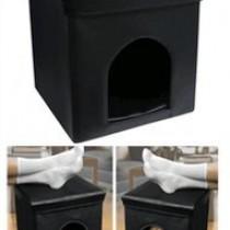 Pet Ottoman (Black) (15″H x 15″W x 15″D)