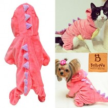 Pet Plush Outfit Dinosaur Costume with Hood for Small Dogs & Cats Jumpsuit Winter Coat Warm Clothes (Pink, X-Small)