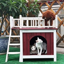 Petsfit 29″LX20″WX26″H Cat House with Rooftop,Dog House,Wooden Indoor Dog House Cat Condo