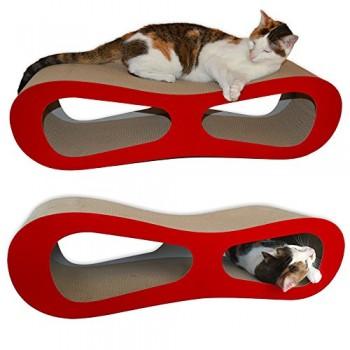 Premium-Cat-Scratcher-Lounge-Bed-Red-Velvet-0