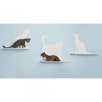 Refined-Feline-Cat-Silhouette-Cat-Shelf-Set-of-3-0