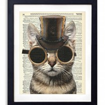 Steampunk Cat Upcycled Vintage Dictionary Art Print 8×10