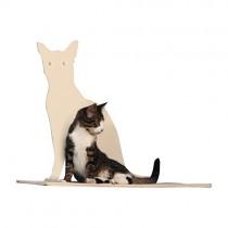 The Refined Feline Perch Silhouette Cat Shelf in Off-White
