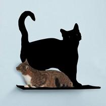 The Refined Feline Prance Silhouette Cat Shelf in Black