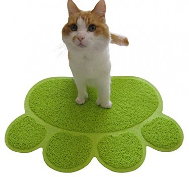 Two-Meows-Kitty-Litter-Catcher-Mat-Paw-Shaped-Traps-Cat-Litter-and-Crystals-Large-Fun-Bright-Green-0